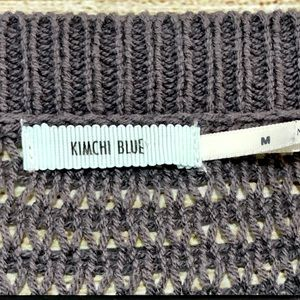 Kimchi Blue Sweaters - Kimchi Blue Open Knit Pullover Sweater Grey Size M